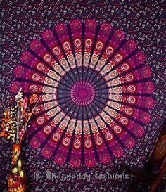Indien Motif floral indien Bedsheet couvre Tenture, drap de plage, en pique-nique de qualité Hippie murale Motif bohème Motif Mandala, tapisseries, dortoir Pyshedlic Tapisserie en coton décoration, couvre-lit, 86 x 94 Par Bhagyoday Inch