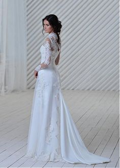 Wedding Dresses Ball Gown, Elegant Tulle Illusion High Neckline A-line Wedding Dress With Lace Appliques DressilyMe Fantasy Wedding Dresses, Sexy Wedding Dresses, Cheap Wedding Dress, Designer Wedding Dresses, Bridesmaid Dresses, Ball Dresses, Ball Gowns, Unconventional Wedding Dress, Lace Applique