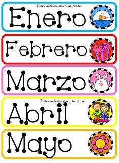 Nombres de meses decorativos Adornos Bilingual Education, Kids Education, Spanish Lessons, Teaching Spanish, School Items, School Days, Classroom Organization, Classroom Decor, Preschool Writing