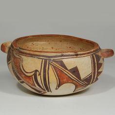 """#adobegallery - Hopi Polychrome Polacca Bowl. Category: Historic Origin: Hopi Pueblo Medium: clay, pigment Size: 3-1/2"""" depth x 5-3/4"""" diameter Item # 25799"""
