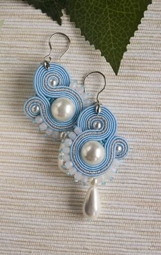 Light blue dangle soutache earrings white pearl drop