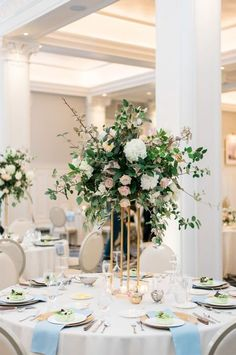 Wedding centerpieces ideas - gold, vase, modern, greenery, roses, white, pink, flowers {Beth} Wedding Themes, Wedding Photos, Wedding Centerpieces, Color Combinations, Greenery, Real Weddings, Table Decorations, Rose, Modern