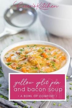 If you love a warm comforting bowl of soup, this recipe is perfect. Packed with lentils veggies and of course bacon, it is tasty and filling. #yellowsplitpeaandbaconsoup #errenskitchen Bacon Soup, Whats For Lunch, Bowl Of Soup, Kitchen Recipes, Lentils, Lunch Recipes, Cheeseburger Chowder, Soups, Veggies
