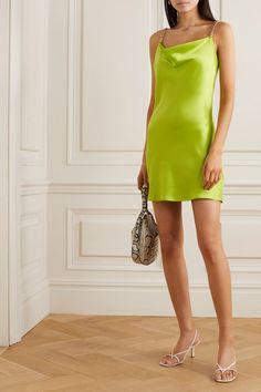 Lime green Minnie chain-embellished silk-satin mini dress | Olivia von Halle | NET-A-PORTER Olivia Von Halle, Green Sequin Dress, Green Dress, Long Sleeve Bandage Dress, Minnie Dress, Combo Dress, Satin Mini Dress, 2000s Fashion, Silk Satin