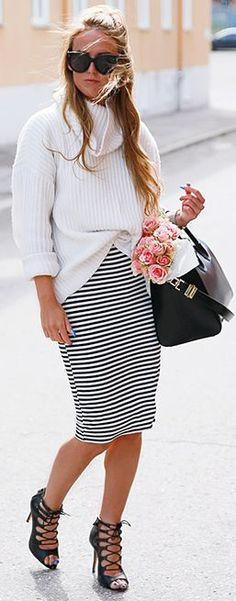 Lace Up Pumps Striped Pencil Skirt White Turtleneck Fall Inspo by By Kiki  Skirt Outfits 086248f7f