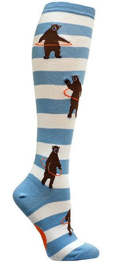 Amazingly, bears really can hula hoop!  White and light blue striped knee high socks with brown bears hula hooping all over.  Fits women's US shoe size 6-10.
