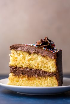 Classic Yellow Cake with Creamy Chocolate Frosting