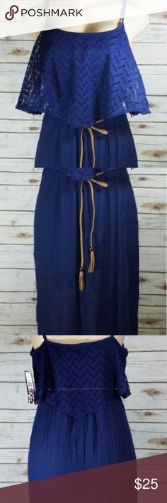 Boho Halter Lace Top Navy Sundress Maxi Dress Trixxi? ?Boho Gypsy Festival Peasant Halter Top Lace Ruffle Sun Dress Maxi Dress Size: X Large Color Listed On Tag: Navy Attached Slip With Faux Suede Braided Beaded Tassle Belt 58% Rayon 42% Polyester RN#106289 Style#84G100A9FI Trixxi Dresses Maxi