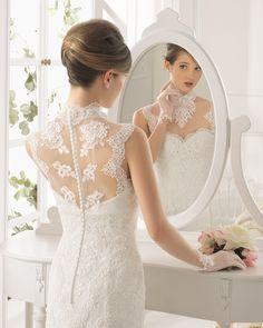 AMARILE - Beaded lace dress in a natural colour.   #wedding-dresses, #AIREBARCELONA2015, #свадебные-платья-2015