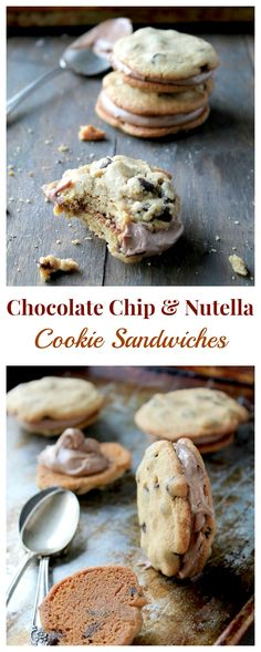Chocolate Chip Cookie Sandwiches with Nutella Cream Cheese Filling | www.diethood.com | #nutella #chocolatechipcookies #recipe