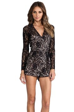 Dolce Vita Clarice Stretch Floral Lace Romper in Noir from REVOLVEclothing