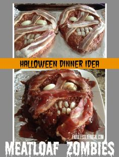 Halloween Zombie Meatloaf Recipe - Fabulessly Frugal - - Disgusting and delicious! This zombie meatloaf is perfect for Halloween dinner! Halloween Goodies, Halloween Dinner, Halloween Food For Party, Halloween Treats, Halloween Zombie, Zombie Party, Halloween Night, Outdoor Halloween, Holiday Treats