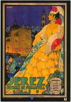 Un cartel de la feria de Jerez del año 1930 usado en un cartel de turismo de España de 1996