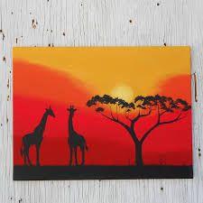 African Sunset Silhouette Art Giraffe Painting by Africa Painting, Giraffe Painting, Giraffe Art, Silhouette Painting, Sunset Silhouette, African Tree, African Sunset, Art Graphique, Tree Art