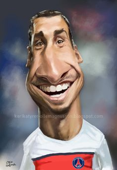 soccer player Zlatan by Olle Magnusson Funny Caricatures, Celebrity Caricatures, Cartoon Pics, Cartoon Art, Zlatan Psg, Soccer Players, Football Team, Black And White Cartoon, Caricature Drawing