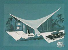 Googie architecture, by El Gato Gomez