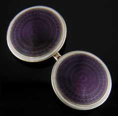 Carrington Purple Enamel Cufflinks - Striking purple enamel over an engine-turned pattern of radiating, scalloped circles.  A beautiful example of the guilloche enamels created in the early 1900s.  The purple centers are surrounded by borders of white enamel and yellow gold.  Created by Carrington & Company in 14kt gold,  circa 1925.