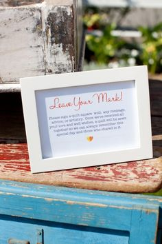 neat idea ~ a station where you have guests sign a quilt square with wedding message, advice or artistry & later make a quilt from them ~ other neat pictures on this site ~ Found Vintage Rentals - Home
