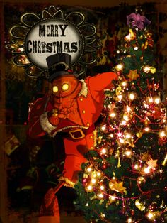 Steampunk Robot Christmas Card with The Coggingtons - £2.65  Hand-drawn , and computer coloured with photomanipulations.