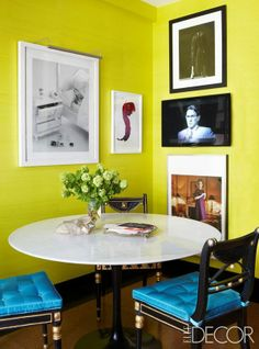 Inside Todd Alexander Romano's 'Highly Schizophrenic' Digs lacquer chartreuse yellow walls