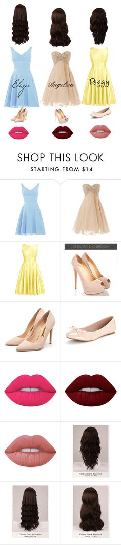 """The Schuyler Sisters"" by phya ❤ liked on Polyvore featuring Rupert Sanderson, Lime Crime and WigYouUp"