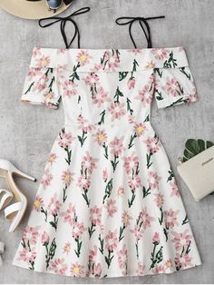 Floral Print Ruffle Hem Cami Dress - Floral M Teen Fashion Outfits, Trendy Outfits, Fashion Dresses, Cute Outfits, Trendy Fashion, Cute Dresses, Casual Dresses, Floral Dresses, Casual Clothes