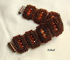 Beadwoven brown seed bead Right Angle Weave cuff bracelet $110.00