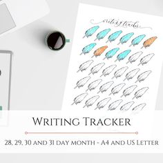Writing Tracker - and US letter Bullet Journal Inserts, Reading Tracker, Marketing And Advertising, Sentences, A4, My Etsy Shop, Notes, How To Get, Lettering