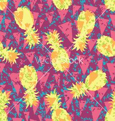 Floral tropical pineapple pattern background vector by junglebay on VectorStock®