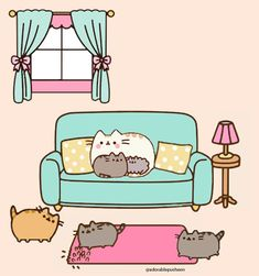 Full House equals to BEST MOM ever.(image created by me) Pusheen Love, Pusheen Cat, Kawaii Wallpaper, Cat Wallpaper, Cute Kawaii Drawings, Unicorn Cat, Cute Doodles, Cute Images, Crazy Cats