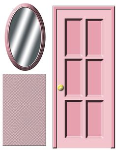 DIGITAL DOWNLOAD Dollhouse decals Pink door and by Printatoy