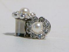 Diamond And Pearl Wedding Plugs 0 00 Gauge 8mm 10mm. $40.00, via Etsy.