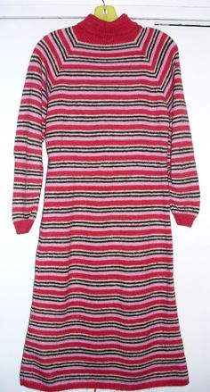 Sweater dress red brown pink horz stripes 36 bust