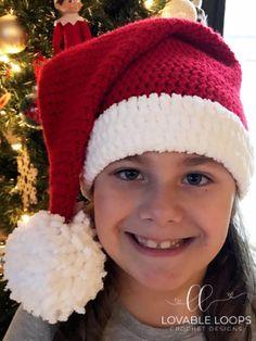 Crochet Santa Hat, Crochet Christmas Hats, Crochet Hat With Brim, Holiday Crochet, Crochet Hats, Christmas Beanie, Crochet Winter, Christmas Patterns, Crochet For Kids