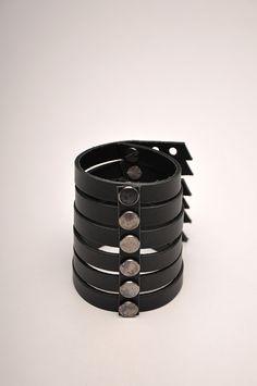 AUMORFIA, MT_CUFF: black leather and nickel studs; handmade in greece.