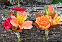 Button-holes for other guys in the wedding party using babe orange spray roses, alstromeria and burgundy mini carnations.  Floral Designs by Jodi