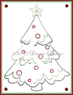 Snowy Christmas Tree Paper Embroidery Pattern for Greeting Cards. $1.50, via Etsy.