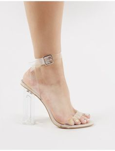 1295dbbe11fd Alia Strappy Perspex High Heels in Clear Nude