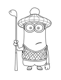Kevin Is One Of The Grus Minions And He Often Wearing His Golf Clothing Have Fun With This Another Free Coloring Sheet From Despicable Me 2 Movie