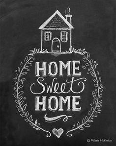 Home Sweet Home Print Chalkboard Art Home Sweet by LilyandVal