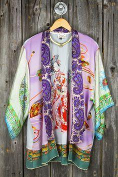 AMERICAN VINTAGE Repurposed Scarf Kimono - Purple Geisha
