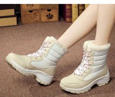 Buy WH Women Snow Boots Winter Warm Boots Shoes Thick Bottom Platform Waterproof Ankle Boots for Women at Wish - Shopping Made Fun Mid Calf Boots, Black Ankle Boots, Heeled Boots, Shoe Boots, Women's Shoes, Warm Winter Boots, Winter Fashion Boots, Snow Boots Women, Hiking Shoes