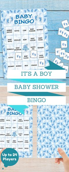 Don't forget the baby shower games.  This boy themed Baby BINGO shower game is simple, easy and fun. #babyboy #babyshower #itsaboy #babybingo