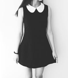 I'm really in love with the black dress with the white peter pan collar. Can someone please help me find this and some other dresses or shirts with peter pan collars? Soft Grunge, Grunge Style, Peter Pan, Cute Dresses, Cute Outfits, Casual Dresses, Dress Skirt, Dress Up, Prom Dress