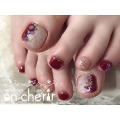 ネイルデザインを探すならネイル数No.1のネイルブック Fancy Nails Designs, Square Nail Designs, Toe Nail Designs, Cute Toe Nails, Toe Nail Art, Beautiful Toes, Gorgeous Nails, Fingernails Painted, Gel Toes