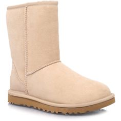Short Sand Ugg Australia Tan ($230) ❤ liked on Polyvore featuring shoes, boots, ankle booties, shoe game, tan, ugg, short booties, ugg australia, lined boots and short ankle booties