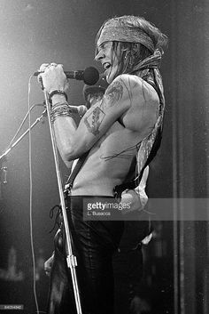 Axl Rose of Guns 'n' Roses performs in concert at the Ritz on February 2, 1988 in New York City.  (Photo by Larry Busacca/WireImage)