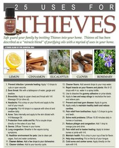 Amazing Oil for whatever ails you. 25 uses for Thieves  http://ylscents.com/SeaSpiritSelfHealing/
