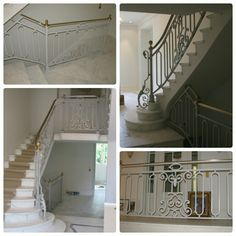 Gray balustrade with brass Szara balustrada z mosiężną poręczą