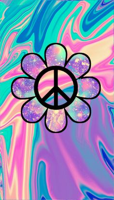 ✌Peace Sign Flower Art #cTeal #cPeach #cPurples  - Galaxy peace flower by hisonlygirl™ wallpaper ___created for the app CocoPPa!